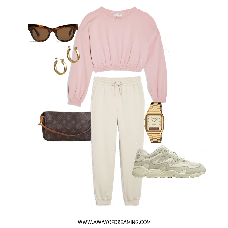 Sweater Pink Elastic Crop Sweatshirt TOPSHOP €22,00 — Sweatpants MONKI €25,00 — Sneakers Unisex 850 NEW BALANCE €120,00 — Sunglasses €29,00 MANGO — Mini Band Earrings LAURA LOMBARDI €23,50 — Watch Vintage Edgy CASIO €59,90 — Shoulder bag Louis Vuitton via Rebelle €539